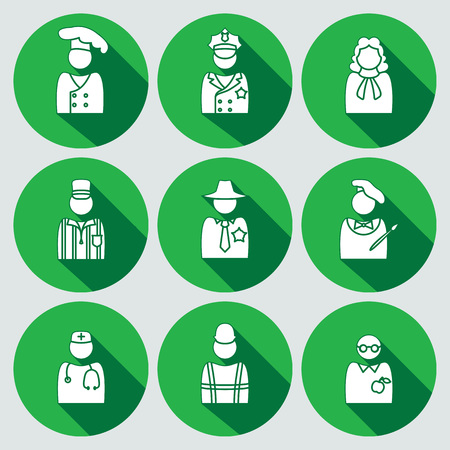 sherif: People icon set. Judge, artist, referee, doctor, teacher, sherif, cook, builder, worker, policeman. Profession, avatar symbol. White sign on round green button with long shadow. Vector
