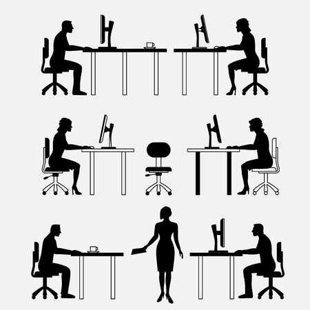 front office: Architectural set of furniture with people. Sitting man, woman. Front view. Interiors elements for house, office, premises. Computer, table, chair. Standard size. Vector