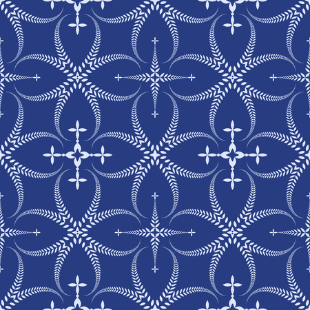 ceremonial: Religion seamless pattern. Laurel wreath, lace view texture with cross. Ceremonial, funeral background. Swirl stylized ornament. Blue contrast colored. Vector