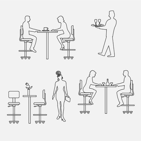 Architectural set of furniture with people. Sitting man, woman. Front view. Interiors elements for restaurant, bar, cafe, premises. Thin lines icons. Table, chair. Standard size. Vector Illustration