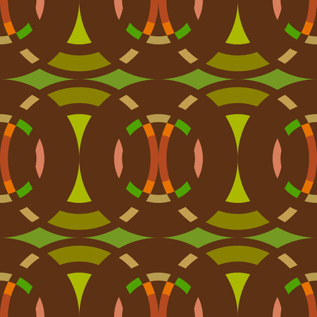 Seamless geometric abstract pattern. Rombus, circle view braiding figure texture. Green, brown, orange colored background. Vector Illustration