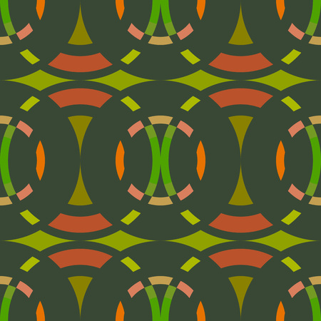 rhombic: Seamless geometric abstract pattern. Rombus, circle view braiding figure texture. Green, brown, orange colored background. Vector Illustration
