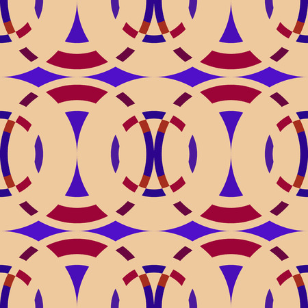 braiding: Seamless geometric abstract pattern. Rombus, circle view braiding figure texture. Violet, dark red, bisque colored background. Vector