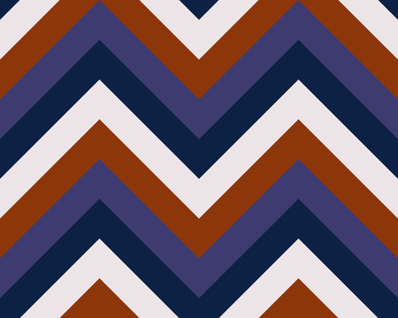 brindled: Striped, zigzagging seamless pattern. Zig-zag line texture. Stripy geometric background. Orange, blue, white contrast colored. Vector Illustration