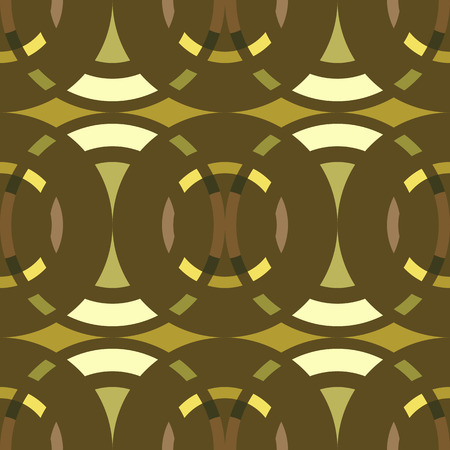 braiding: Seamless geometric abstract pattern. Rombus, circle view braiding figure texture. Green, brown, yellow colored background. Vector