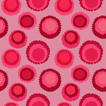 Seamless polka dot, motley texture. Abstract spotty pattern. Circles with torn paper effect. Red, pink colored. Cornflakes theme. Vector