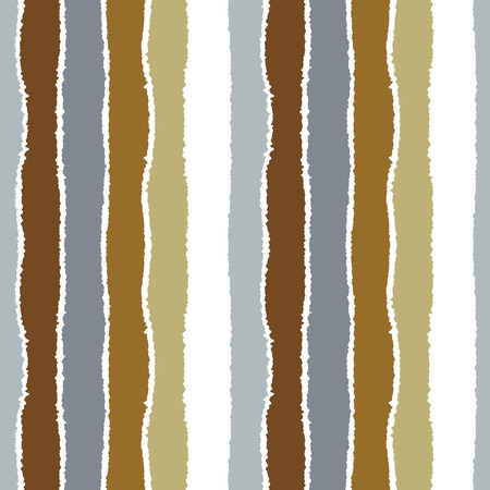 torn edge: Striped seamless pattern. Vertical wide lines with torn paper effect. Shred edge band background. Gray, gold, white soft colors. Vector