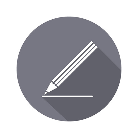 clerical: Drawing tools. Pencil icon. Education, school, clerical, artistic, office, building design symbol. White sign on round flat button. Vector Illustration