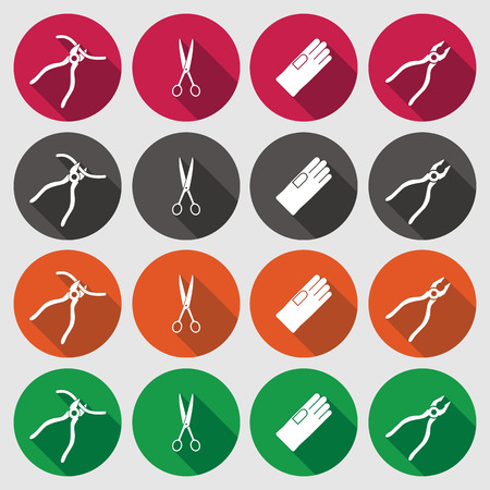 tongs: Pliers, gloves, tongs, scissors icons set. Repair fix tool symbol. Round green, orange, gray, red flat signs with long shadow. Vector Illustration