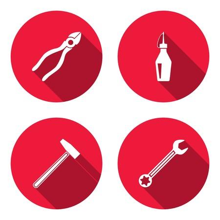 Schreiner Zeichen werkzeug icons gesetzt axt hammer zick zack faltung regel zange