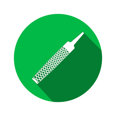 metalworker: Tool icon. Chisel, rasp file, grater instrument. Industrial, fixing, support hardware service symbol. White sign on round green flat button. Vector
