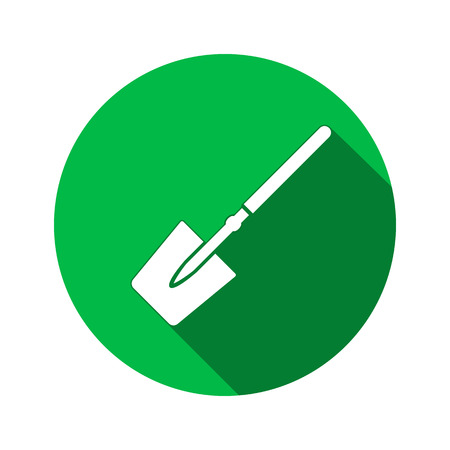unskilled: Tool icon. Spade, shovel instrument. Work, job, labour, toil, repair, unskilled, building symbol. White sign on round green button with long shadow. Vector isolated Illustration