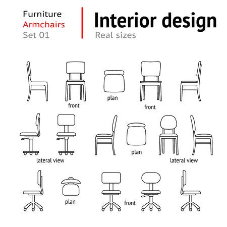 Architectural dunne lijn iconen set. Meubilair. Zetels, stoelen, fauteuils. Interieurelementen. Plan, voorkant, zijdelings uitzicht. Office faciliteit. Standaard maat. Vector
