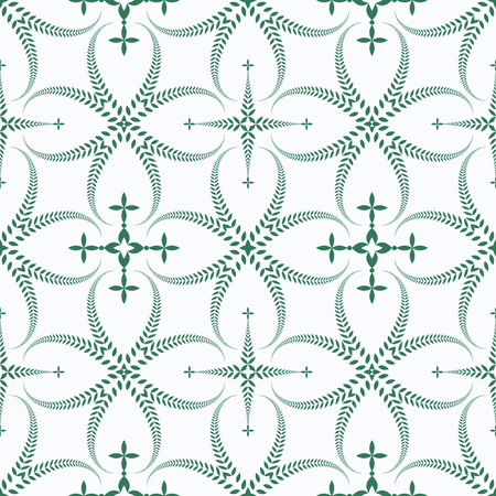 Religion seamless pattern. Laurel wreath, lace view texture with cross. Ceremonial, funeral background. Swirl stylized ornament. Green, white colored. Vector
