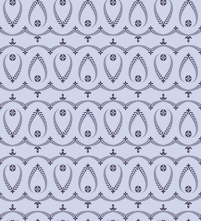 honouring: Religion seamless pattern. Laurel wreath, lace view texture with cross. Ceremonial, funeral background. Swirl stylized ornament. Blue, violet colored. Vector