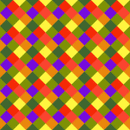 brigth: Seamless geometric checked pattern. Diagonal square, braiding, woven line background. Patchwork, rhombus, staggered texture. Baby, festival, clown, holiday colors. Vector Illustration