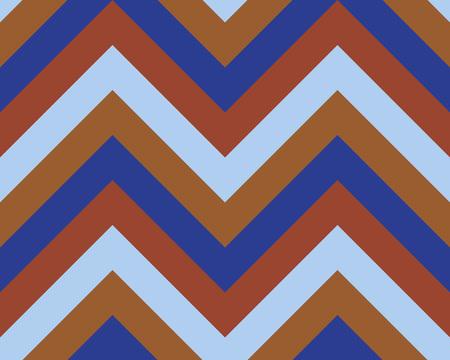 striated: Striped, zigzagging seamless pattern. Zig-zag line texture. Stripy geometric background. Blue, orange, sepia contrast colored. Vector