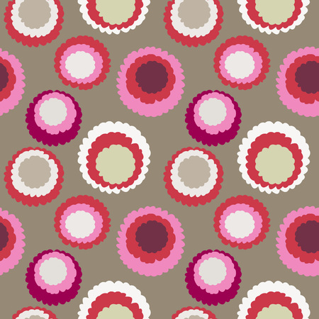 cream colored: Seamless polka dot, motley texture. Abstract spotty pattern. Circles with torn paper effect. Rosy, red, silver, cream colored. Vector