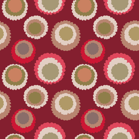 Seamless polka dot, motley texture. Abstract spotty pattern. Circles with torn paper effect. Red, orange, green, cream colored. Vector