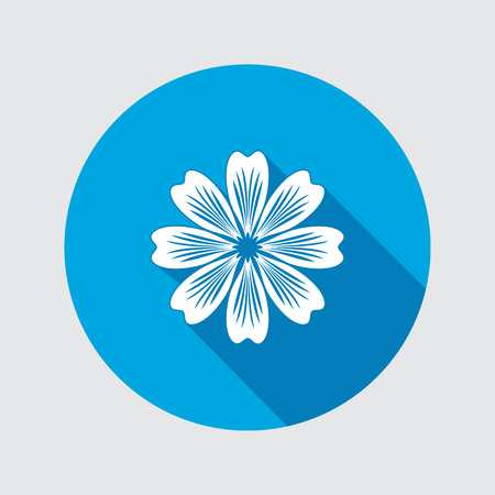 primula: Flower icon. Chamomile, aster, daisy, chrysanthemum. Spring, summer, floral medicinal herbs symbol. Round circle flat sign with long shadow. Vector