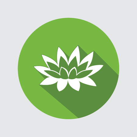 nymphaea: Lily flower icon. Waterlily, water-lilies floral symbol. Round circle flat sign with long shadow. Vector Illustration