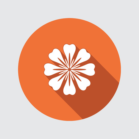 aster: Flower icon. Chamomile, aster, daisy, chrysanthemum. Spring, summer, floral medicinal herbs symbol. Round circle flat sign with long shadow. Vector