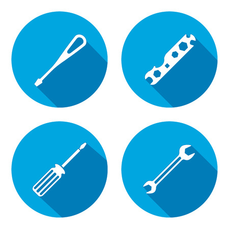 Tool icon. Spanner, nut wrench, screwdriver, turnscrew instrument. Industrial, fixing, repair, service symbol. White sign on round flat button. Vector Illustration