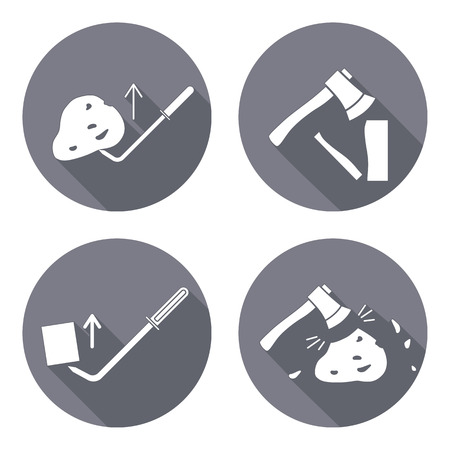 Tool icons set. Axe, hache, pinchbar instrument. Working, unskilled, toil, unable, useless method symbol. White sign on round button with long shadow. Vector Illustration
