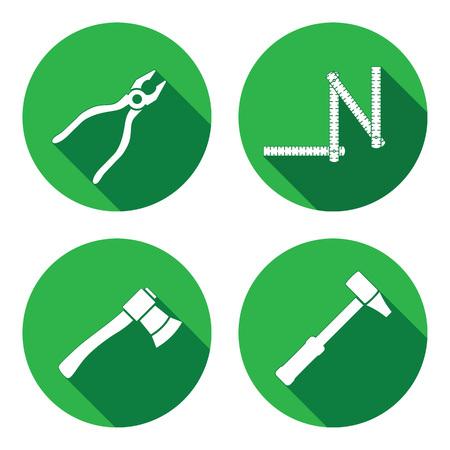 Tool iconen set. Axe, hamer, zigzag vouwmeter, tangen. Reparatie, meetinstrument, fix timmerlieden werken symbool. Ronde cirkel flat pictogram met lange schaduw. Vector