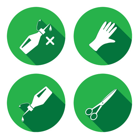 rubber gloves: Tool icons set. Glue, rubber gloves, scissors. Repair, fix, cut, protection symbol. White sign on round button with long shadow. Vector isolated