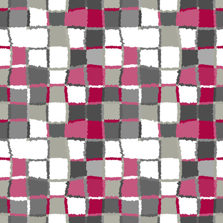 spliced: Seamless geometric mosaic checked pattern. Background of woven rectangles and squares. Patchwork, ceramic, tile texture. Gray, white, red, cold colors. Vector