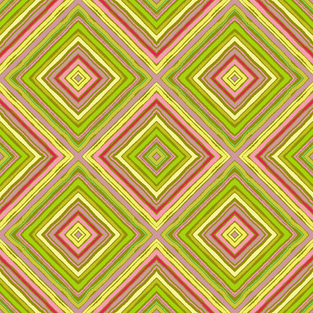 Striped diagonal rectangle seamless pattern. Square rhombus lines with torn paper effect. Ethnic background. Green, yellow, pink colors. Vector Illustration