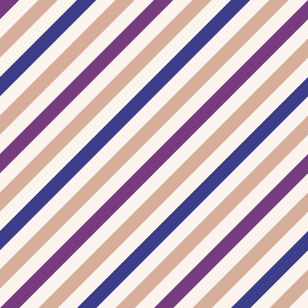 striated: Seamless geometric pattern. Stripy texture for neck tie. Diagonal contrast strip background. White, blue, violet, pale orange colors. Vector Illustration