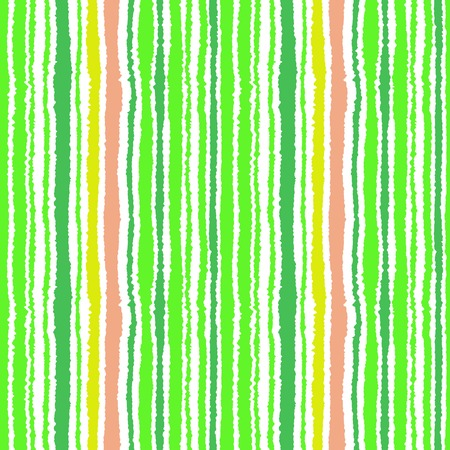 striped band: Seamless striped pattern. Vertical narrow lines. Lacerated, ragged edges. Streaky texture. Green, white, orange colored background. Spring theme. Vector Illustration