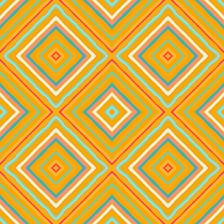 Striped diagonal rectangle seamless pattern. Square rhombus lines with torn paper effect. Ethnic background. Yellow, orange, green, colors. Vector