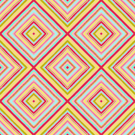 Striped diagonal rectangle seamless pattern. Square rhombus lines with torn paper effect. Ethnic background. Yellow, pink, blue, white colors. Vector