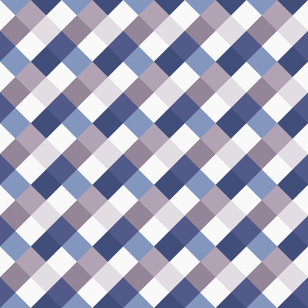 pastel colored: Seamless geometric checked pattern. Diagonal square, woven line background. Rhombus, patchwork texture. Blue, gray, white pastel colored. Vector