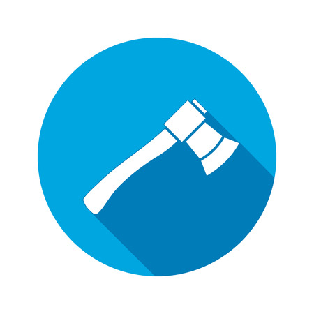 joinery: Tool icon. Axe, hache instrument. Work, job, labour, toil, repair, fix, building symbol. White sign on round blue button with long shadow. Vector isolated