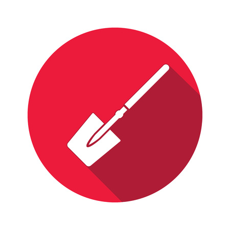 unskilled: Tool icon. Spade, shovel instrument. Work, job, labour, toil, repair, unskilled, building symbol. White sign on round red button with long shadow. Vector isolated Illustration