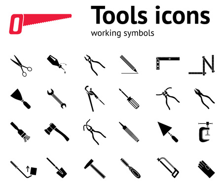 Tools icons set. Glue, pliers, tongs, wrench key, hammer, rubber gloves, spattle, brush, scissors, chisel, clamp, saw, pinchbar, surfacer, spade, angle. Repair fix symbols. Vector
