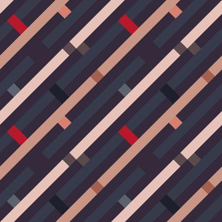 striated: Seamless geometric stripy pattern. Texture of diagonal strips, lines. Rectangles on dark blue, orange, gray striped background. Vector Illustration