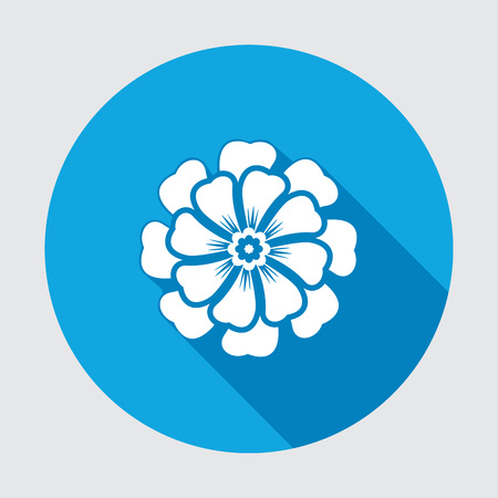 primula: Flower icon. Chamomile, aster, daisy, chrysanthemum. Summer, autumn floral symbol. Round blue flat sign with long shadow. Vector isolated.