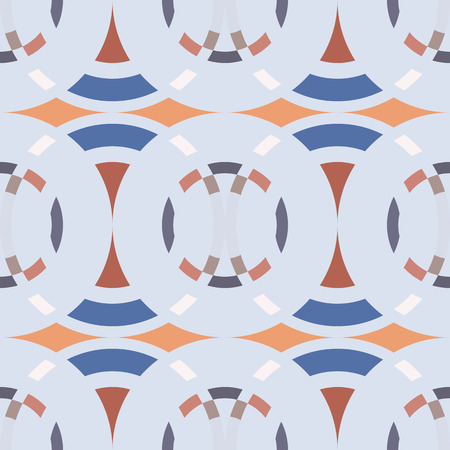 braiding: Seamless geometric abstract pattern. Rombus, circle view braiding figure texture. Blue, gray, orange winter soft colored background. Vector Illustration