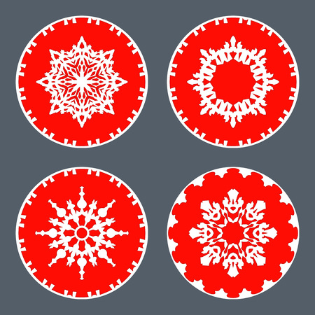 Christmas Snowflake Icon Set Ornamental View Snow Signs Winter