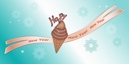 wishing card: Greeting banner. Chocolate icecream with decor, ribbon, Happy New Year lettering and snowflakes. Labels for your design. Brown, beige colored icons on blue background. Vector Illustration