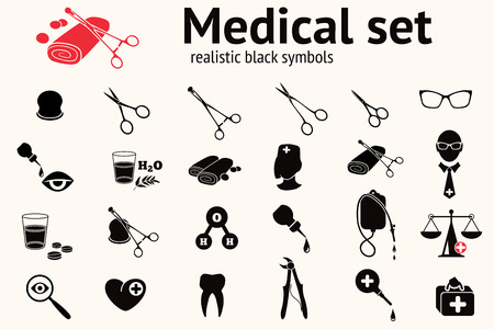 Ensemble d'icônes médicales. Symboles d'outils de santé et de médecine. Pinces, pinces, éclaboussures, pince, dent, bandage, ciseaux, lunettes, loupe, écailles, pilules, oeil, goutte, sac, médecin, eau. Signes noirs. Vecteur