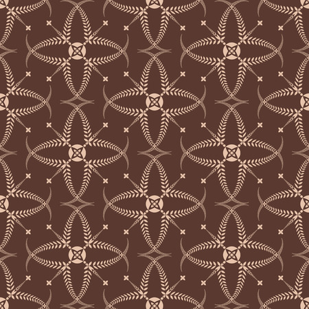 honouring: Religion seamless pattern. Laurel wreath, lace view texture with cross. Ceremonial, funeral background. Swirl stylized ornament. Brown, tan contrast colored. Vector Illustration
