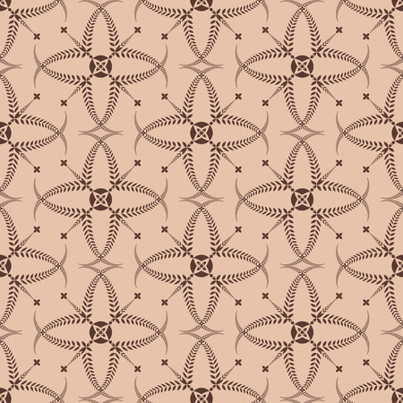 Religion seamless pattern. Laurel wreath, lace view texture with cross. Ceremonial, funeral background. Swirl stylized ornament. Brown, tan contrast colored. Vector Illustration