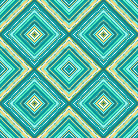 Striped diagonal rectangle seamless pattern. Square rhombus lines with torn paper effect. Ethnic background. Gray, green, blue, rose colors. Vector Illustration