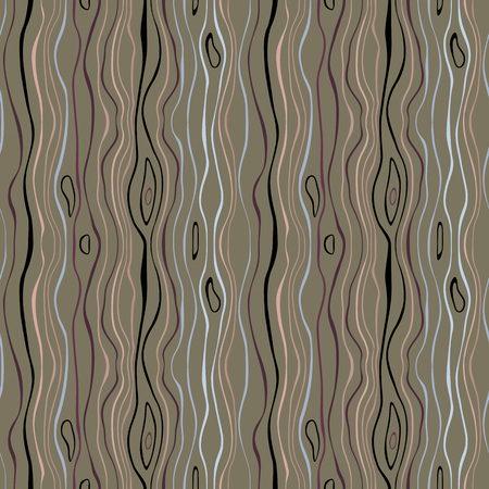 Seamless striped pattern. Vertical thin wavy lines. Snowy rain, night, winter theme texture. Gray, green, beige colored background. Vector